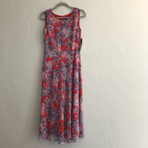 Evan-Picone Poppy Red Paisley Floral Dress